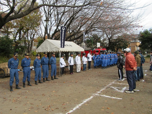 消防署、消防団の指導による防災訓練